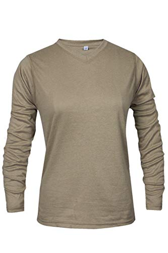 National Safety Apparel C54VKLSWSM Women's True Comfort FR Long Sleeve T-Shirt, Small, Khaki