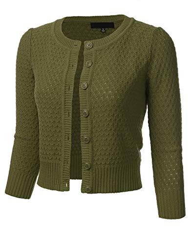 Women's Button Down 3/4 Sleeve Crew Neck Cotton Knit Cropped Cardigan Sweater Olive 3X ()