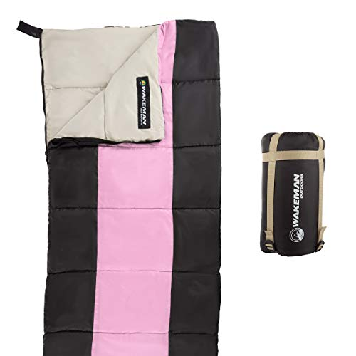Wakeman Outdoors Kids Sleeping Bag-Lightweight, Carrying Bag with Compression Straps Included-for Camping, Backpacking, Sleepovers (Pink/Black)