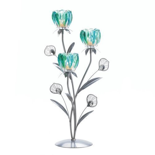 Triple Peacock Bloom Candleholder (pack of 1 EA) - Avenue Candle Holder