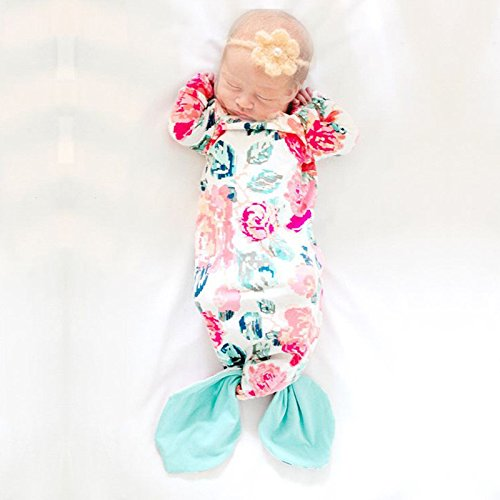 Newborn Baby Sleeping Bag Floral Mermaid Tail Infant Nightgowns Baby Wearable Sleeper Gowns Breathable Cotton Baby Pajamas For Girls Boys Spring Summer(S)