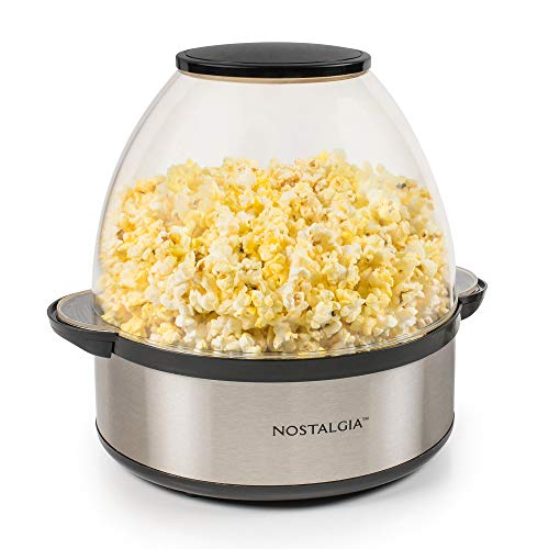Nostalgia SP660SS 6-Quart Stirring Popcorn Popper With Quick-Heat Technology, Makes 24 Cups of Popcorn, Kernel Measuring Cup, Oil Free, Makes Roasted Nuts, Perfect for Birthday Parties, Stainless