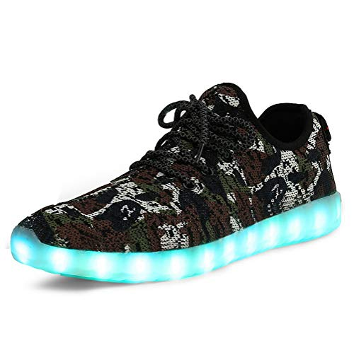 Brown Camouflage Shoes - Men Women Camouflage Mesh Light Up LED Sport Shoes Knit Tennis Sneakers for Dance (Green Camo - 35/3 M US Little Kid)