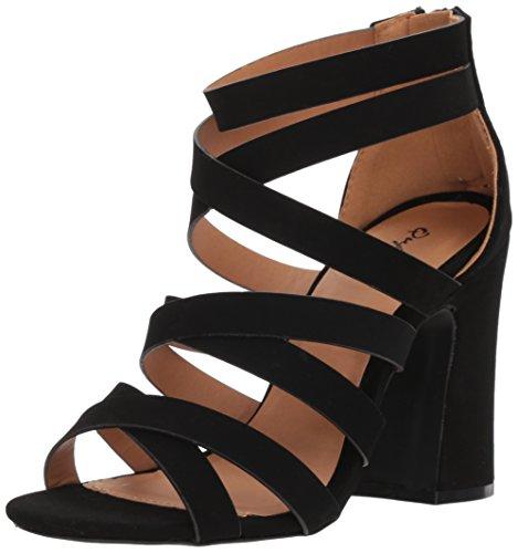 Sandales Nubuck Noir Femme Qupid Compensées z0wqxBzd