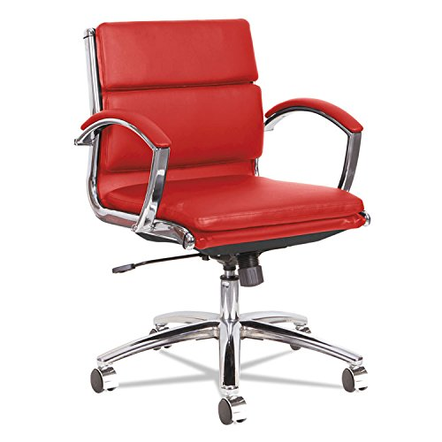 Alera ALENR4739 Neratoli Low-Back Slim Profile Chair, Red Soft Leather, Chrome Frame