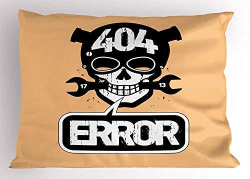 Euro Computer Bed - K0k2t0 Skull Pillow Sham, 404 Error Page Not Found with Cartoon Skull Computer Internet Failure Alert, Decorative Standard Queen Size Printed Pillowcase, 30 X 20 inches, Peach Black White