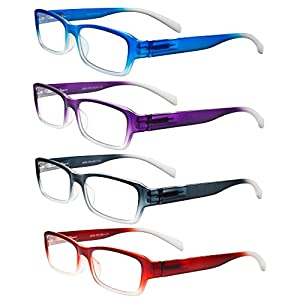 Eyeglasses, Reading Glasses, Set of 4, Neon Ombre for Men & Women - Designer Fashion Readers with Spring Hinged Temples, +3.50, By OptiPlix