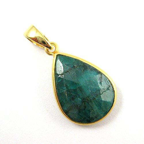 Bezel Gem Pendant with Bail - Dyed Emerald - 22K Gold plated Vermeil Teardrop Faceted Gemstone Pendant-29mm