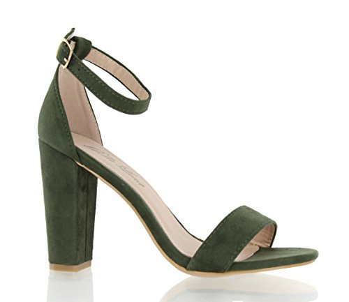 Pictures of Urban Heel Chunk Heel Sandals Ankle Strap Olive 7 M US 3