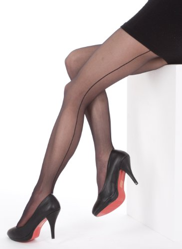YENITA Women's Tights With Back Seam Footed Pantyhose 20 Denier ( Pack of 3 ) (XL, (Lisette Accent)