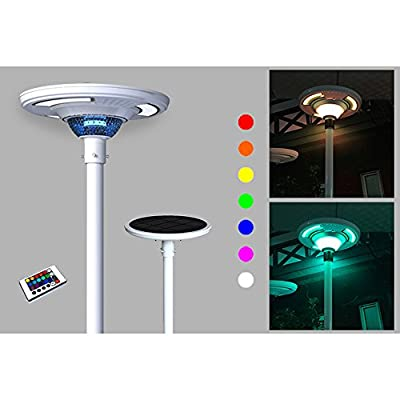 Solar Powered Colorful UFO Round Post RGB LED Light, up to 1800 LM built SMART profile w/ Remote Control for Outdoor Illuminations to Commercial, Industrial & Residential