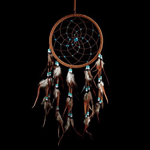 Caught Dreams Dream Catcher ~ Brown Suedette with Turquoise Stones 8.5