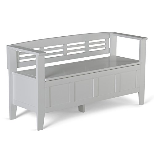 Simpli Home Adams Solid Wood Entryway Storage Bench, White -