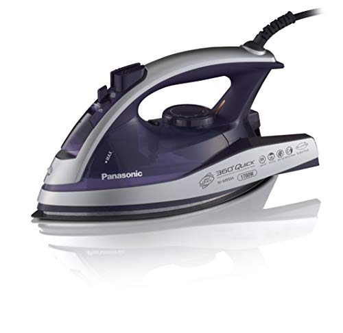 Panasonic Dry and Steam Iron with Alumite Soleplate, Fabric Temperature Dial and Safety Auto Shut Off - 1700 Watt Multi Directional Iron - NI-W950A (Silver/Violet)