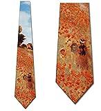 Men's Field Of Poppies Claude Monet Three Rooker Necktie Tie Neckwear