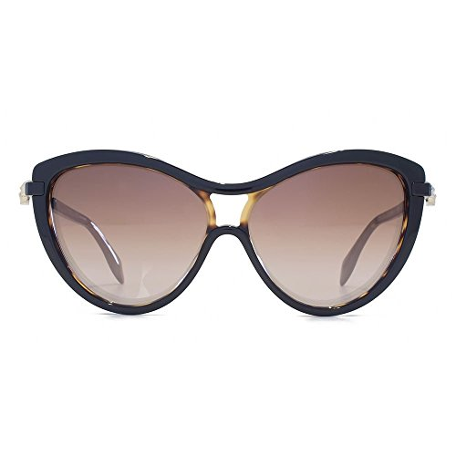 Iconic On Gradient Brown Black Mcqueen Am0021s Havana Cateye Alexander Skull In Bezel 001 58 Ont0W7qw