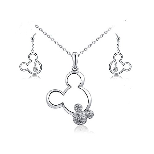 Mall of Style Mickey Jewelry Necklace Earrings Set - Trendy Plated Character Jewelry Teenage Girls (Silver Jewelry Set)