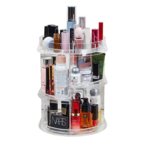 [Upgraded Design] 360 Degree Luxury Rotating Makeup/Perfume Organizer Storage CarouselAdjustable Layers, Fits Different Containers, for vanity table, dresser, bedroom, bathroom and all!