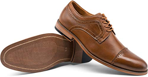 VOSTEY Men's Dress Shoes Leather Formal Oxfords Business Cap Toe Derby Shoes (10.5,Yellow Brown)