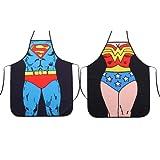 HH Building Superman + Wonder Woman Anime Cartoon Hero Character Series Modern Family 2pcs Apron Couple Kitchen Aprons