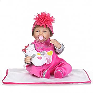 """Reborn Silicone Doll Pretty Girl Baby Magnet Pacifier Mouth Vivid Vinyl Toys 17/"""""""