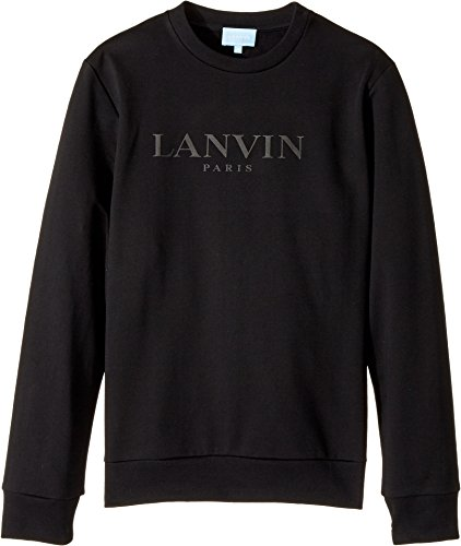 Lanvin Kids Unisex Long Sleeve Logo Sweat Top (Big Kids) Black 12  Years by Lanvin Kids (Image #1)