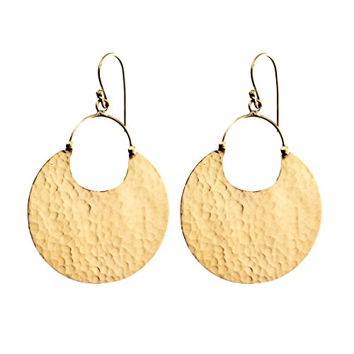 81stgeneration Women's Brass Gold Tone Round Hammered Effect Dangle Hoop Earrings ()