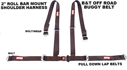 Racerdirect.net 4 Point Buckle & Tongue Racing Harness Off Road SEAT Belt ROLL BAR Mount Brown