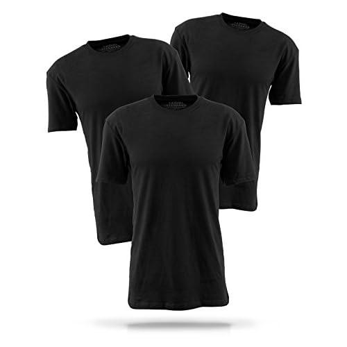 Casual Standard básica Camiseta para Hombre Pack de 3 manga corta 100% algodón cuello redondo bdAnz7Ei