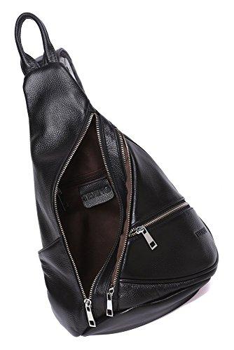 Modelshow Echtleder Im Freien Sport Unwucht Rucksack Crossbody-Tasche Schlinge Brust Tasche für Männer Frau