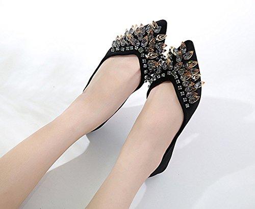 Ballerines Aisun Simple Noir Pointues Femme Strass Chaussures Plates qzYfHvzwx