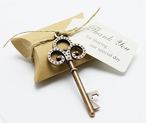 50pcs Wedding Favors Candy Box w/ Antique Skeleton Key Bottle Openers Escort Card Thank You Tag Pillow Box (Key Style #14)
