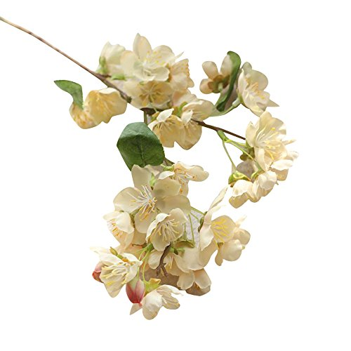 (PENATE 1 Pc Artificial Fake Flowers Leaf Cherry Blossoms Floral for Farmhouse Home Garden Office Patio Wedding and Indoor Outdoor Decoration)