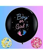 بالونات كونفيتي كاشف عن الجنس من جامبو قطعتان بالون أسود للأولاد أو الفتيات 36 بوصة تأتي مع قصاصات زرقاء وردية للطفل تكشف عن فكرة الحفلات