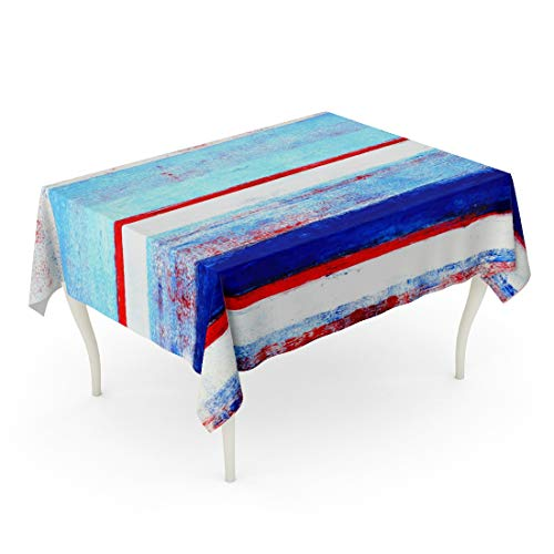 Tarolo Rectangle Tablecloth 60 x 90 Inch Contemporary Red White and Blue Abstract Painting Gallery Home Interior Lines Modern Table Cloth (Table Painting Blue)