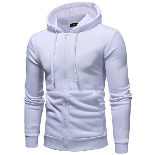 Sudadera Aimee7 Manga Camisetas cremallera con Casual Tops Blanco larga Slim Hombre Fit qqpnOSTw7E