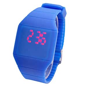 Touch Screen Unisex LED Digital Watch Wristwatch Timepiece with Gum Strap - Navy Blue