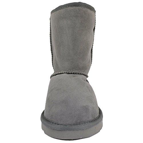 Damen Echt-Schafsleder Halbstiefel von Bushga ( Schwarz, schokoladenbraun, grau, haselnussbraun, violett ) Grau