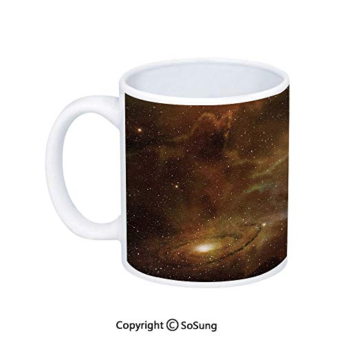 Constellation Coffee Mug,Dusty Nebula Spiral Galaxy in Billions of Stars Infinity,Printed Ceramic Coffee Cup Water Tea Drinks Cup,Light Coffee Mint Green White