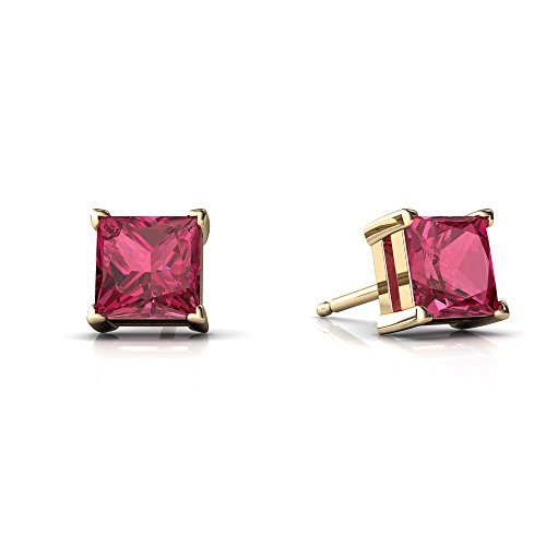 14kt Yellow Gold Pink Tourmaline 5mm Square Princess Cut Stud (Princess Tourmaline Earrings)