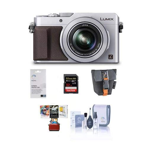 (Panasonic Lumix DMC-LX100 Digital Camera, 12.8MP, Silver - Bundle Camera Case, 32GB SDHC Card, Cleaning Kit, Screen Protector, Mac Software Package)