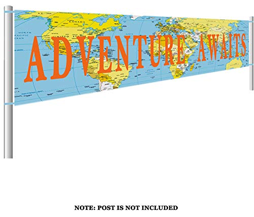 Colormoon Larger Adventure Awaits Banner, Bon Voyage, Travel Theme Banner, Birthday, Baby Shower, Graduation, Retirement Party Decorations (9.8 x 1.5 feet) ()