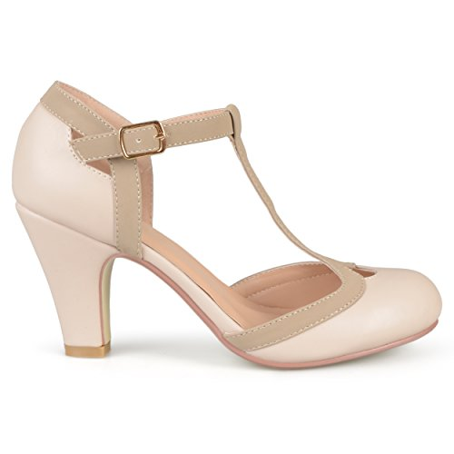 Brinley Co Womens Cut Out Round Toe T-Strap Two-Tone Matte Mary Jane Pumps Nude, 8 Wide Width US