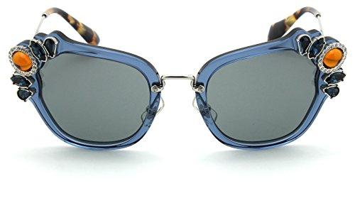 Miu Miu MU 03SS Women Sunglasses Catwalk (Blue Frame / Grey Lens VAV6Q0, 51)