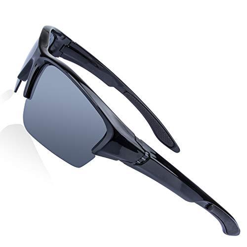 (AOKNES Men's Polarized Sunglasses Semi Rimless Sports Wrap Glasses for Driving Fishing)
