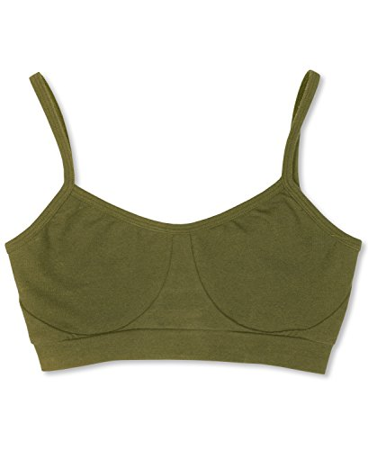 Organic Cotton Green Strap (Soul Flower Women's Organic Bralette Bra MD Olive)
