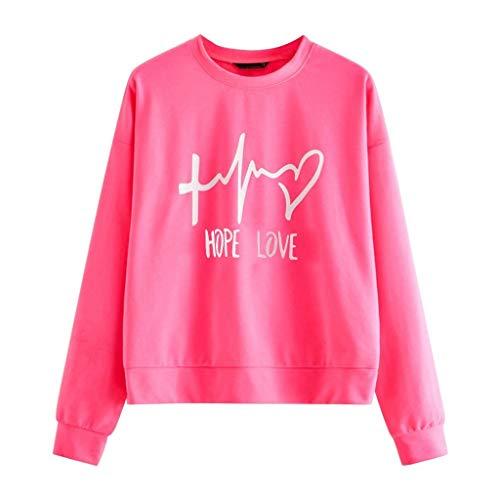 YOCheerful Fashion Sweatshirt Women's Cute O-Neck Long Sleeve Sweatshirt Letter Print Pullover Jumper Tops Hot Pink
