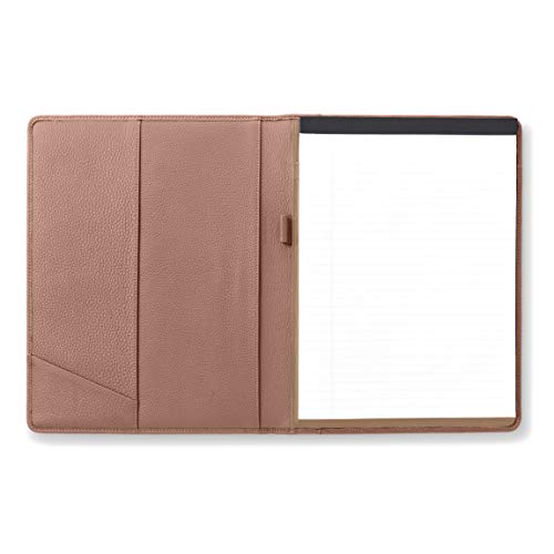 Leatherlogy Standard Padfolio with Pen Loop - Full Grain Leather Leather - Mauve (Pink) -