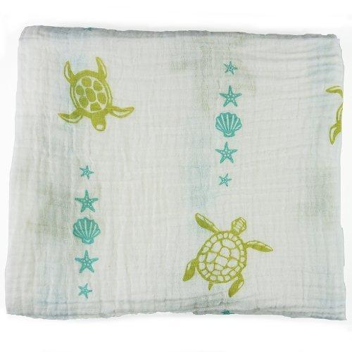Bambino Land Organic Muslin Swaddling Blanket (Sea Creatures) [並行輸入品]   B077YZRMF2