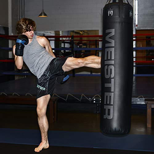 "Meister 100lb Filled Heavy Bag for Boxing, MMA & Muay Thai - 60"" Professional Kicking & Punching Bag - Black"